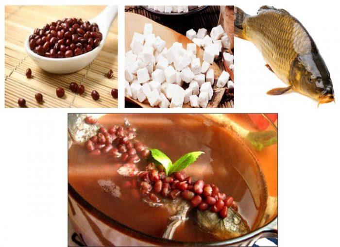 Tác dụng của nấm bạch phục linh chữa bệnh phù nề với món cá chép nấu phục linh đậu đỏ.