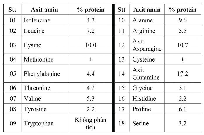 Tỉ lệ các axit amin của protein trong thành phần dinh dưỡng của nấm mỡ.