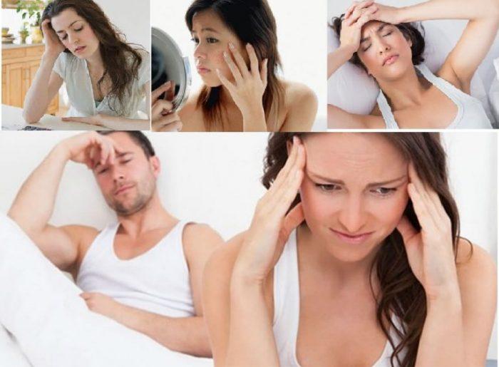 Triệu chứng rối loạn nội tiết tố: giảm ham muốn, mệt mỏi, mất ngủ, nám da... gây phiền phức cho chị em.