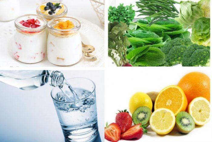 Ăn nhiều rau củ, sữa chua, uống đủ nước là những thói quen tốt giúp da trắng sáng.