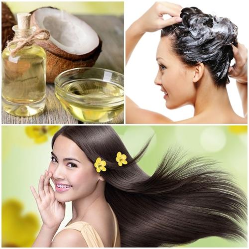 Gội đầu với dầu dừa cho tóc mềm mượt và chắc khỏe.