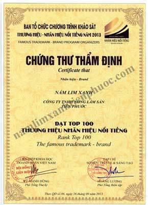 """Công ty TNHH Nấm Lim Xanh Việt Nam vinh dự đón nhận giải thưởng """"Top 100 thương hiệu, nhãn hiệu nổi tiếng"""""""