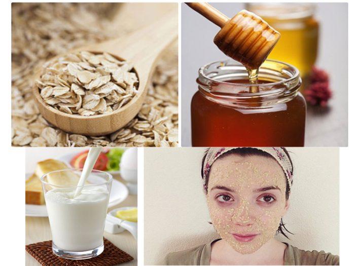 Bí quyết làm đẹp da với mật ong, yến mạch và sữa.