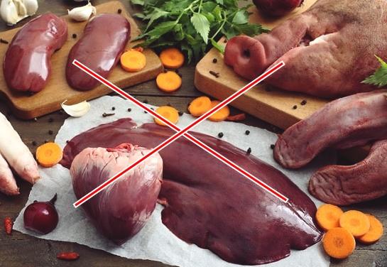 Nội tạng động vật là nhóm thực phẩm không tốt cho gan.