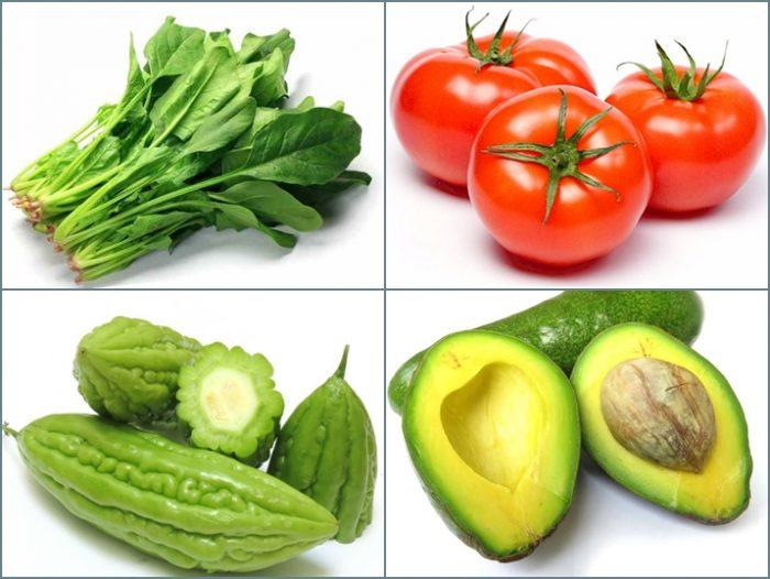 Những thực phẩm tốt cho sức khỏe: cải bó xôi, cà chua, mướp đắng, quả bơ...