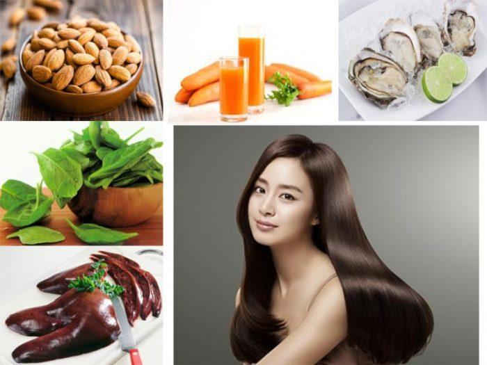 Ngăn rụng tóc bằng thực phẩm thiên nhiên như cà rốt, hàu, rau bina...