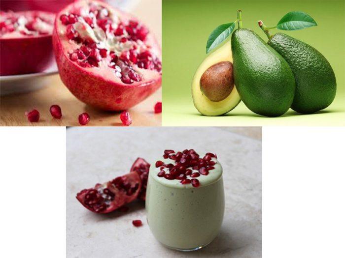 Giảm mỡ bụng bằng sinh tố trái cây từ bơ và lựu.