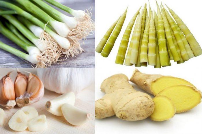 Gừng, tỏi, măng, hành là những thực phẩm có hại cho người viêm gan.