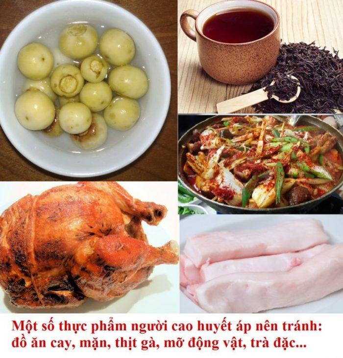Để hạ huyết áp tại nhà, người bệnh cần tránh ăn những thực phẩm như đồ ăn cay, mặn, trà đặc, mỡ động vật...