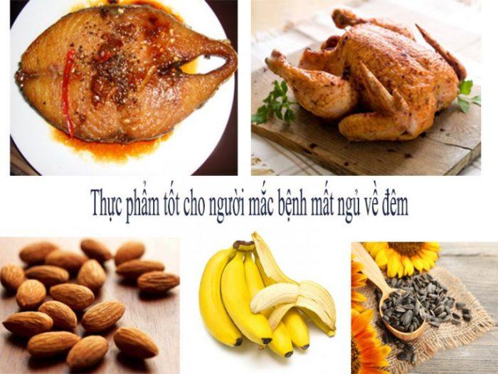 Thực đơn cho người mất ngủ về đêm thường có thịt gà, cá thu, chuối, hạnh nhân...