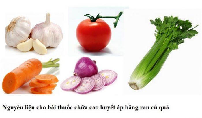 Nguyên liệu bài thuốc chữa cao huyết áp bằng rau củ quả rất dễ tìm.