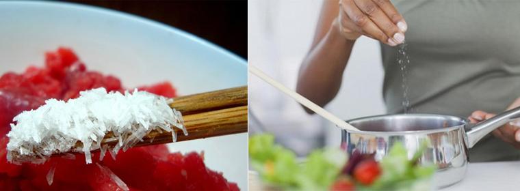 Mì chính được sử dụng trong nấu các món canh, món xào.