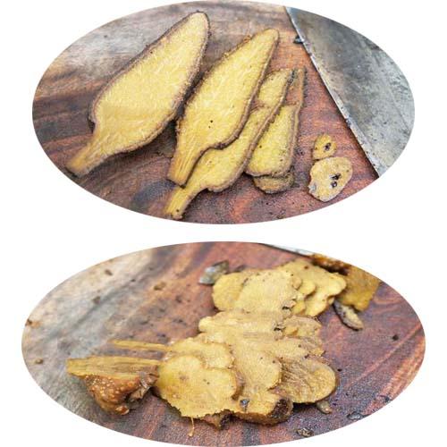 Khi ngâm nấm ngọc cẩu khô, phần búp nên thái dày khoảng 0,5cm; phần thân thái mỏng hơn để rượu ngấm đều.