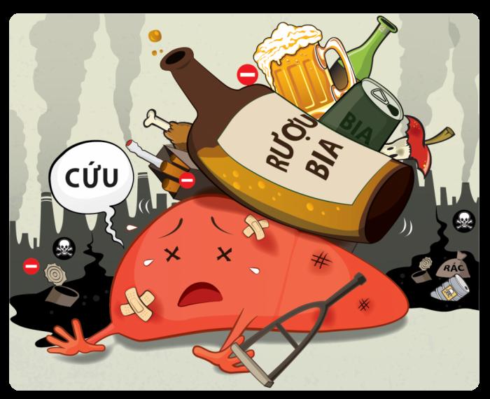 Không dùng chất kích thích như rượu bia là cách tốt nhất để giảm các bệnh về gan