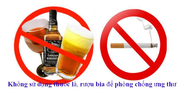 Không sử dụng thuốc lá, rượu bia để phòng chống ung thư
