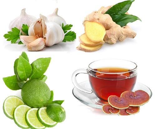 Nấm lim xanh, chanh, gừng tỏi thường được sử dụng để chữa mỡ máu cao tại nhà