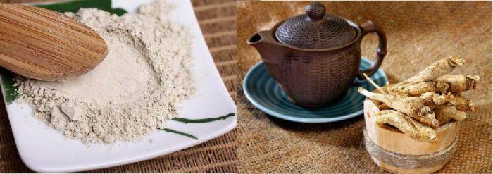 Người dùng có thể sử dụng bột sâm để hãm trà uống hàng ngày