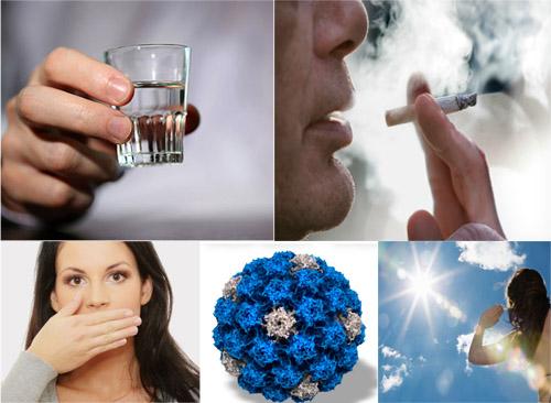 Nguyên nhân ung thư lưỡi do rất nhiều yếu tố: Uống rượu, hút thuốc lá, vệ sinh răng miệng kém, nhiễm virus HPV, tiếp xúc với tia bức xạ