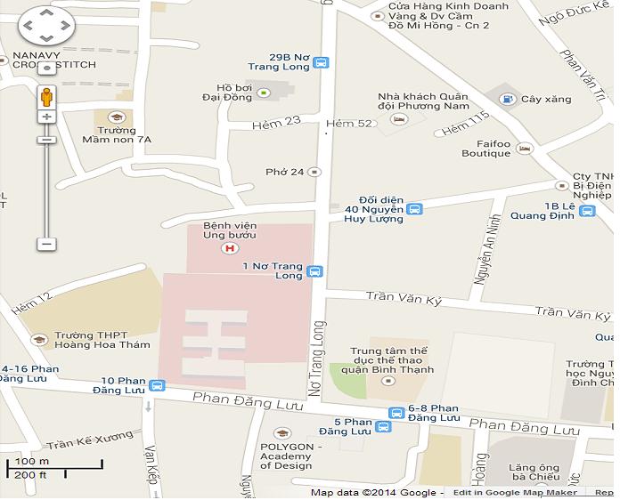 Bản đồ đi bệnh viện Ung bướu TP HCM