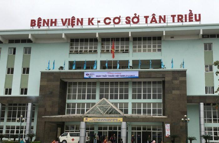 Bệnh viện K Wikipedia có 3 cơ sở: Quán Sứ, Tân Triều, Tam Hiệp