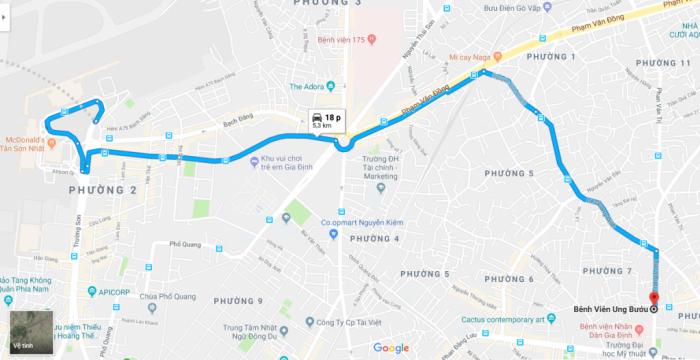 Đường đi bệnh viện Ung bướu từ sân bay Tân Sơn Nhất