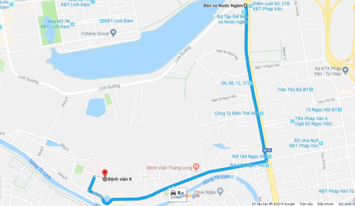 Đường đi đến bệnh viện Ung bướu Hà Nội cơ sở 2
