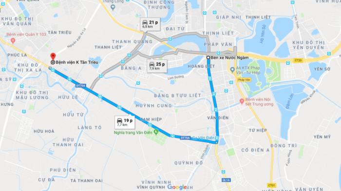 Đường đi đến bệnh viện Ung bướu Hà Nội cơ sở 3