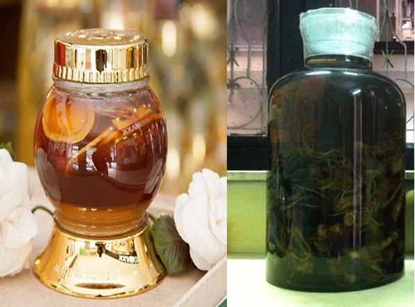 Tam thất ngâm mật ong (trái) và tam thất ngâm rượu (phải)