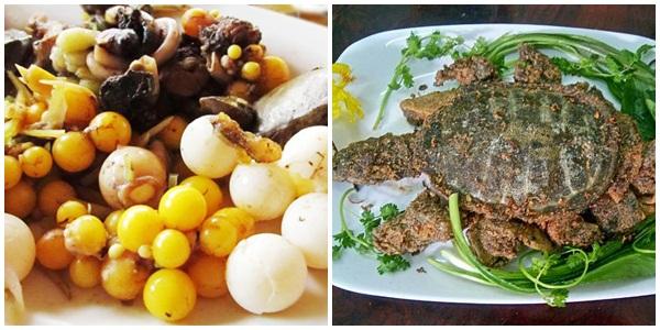 Ba ba rang muối và trứng ba ba kết hợp với lòng hấp cách thủy thơm ngon, bổ dưỡng.