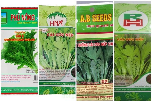 Hạt rau cải cúc được đóng gói bày bán trên thị trường.