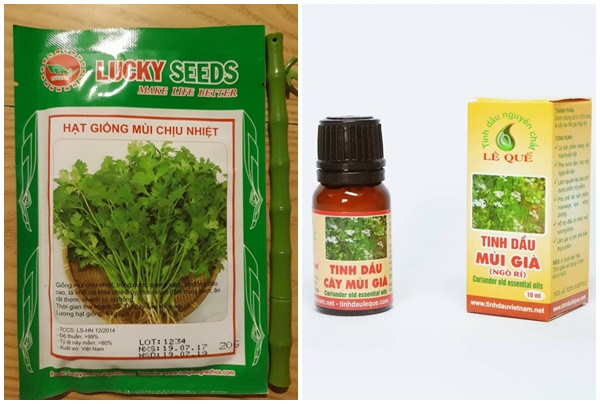 Các sản phẩm tinh chế từ rau mùi bày bán trên thị trường.