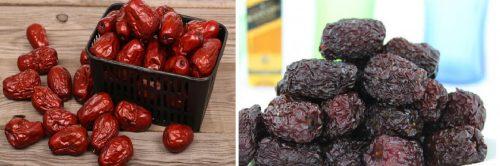 Hình ảnh táo tàu đỏ (trái) và táo tàu đen (phải)