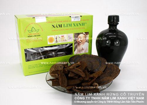 Sản phẩm nấm lim xanh của Công ty TNHH Nông lâm sản Tiên Phước dùng để ngâm rượu đạt hiệu quả cao