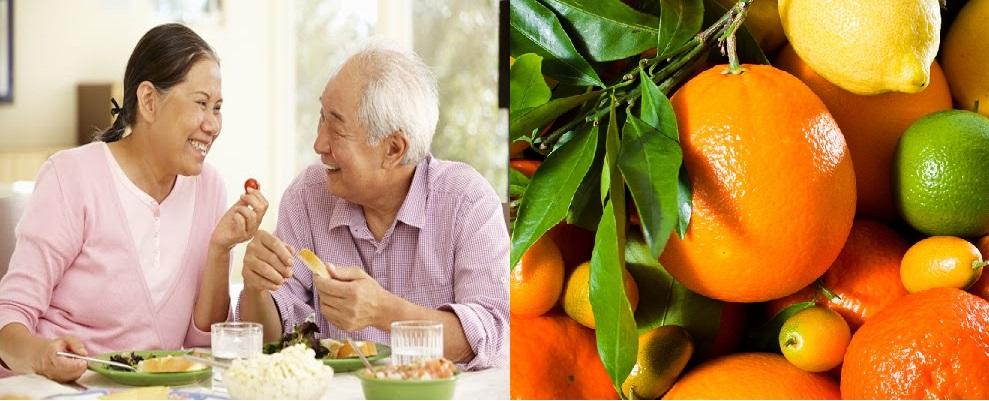 Trái cây họ cam quýt giúp tăng cường sức đề kháng cho người lớn tuổi